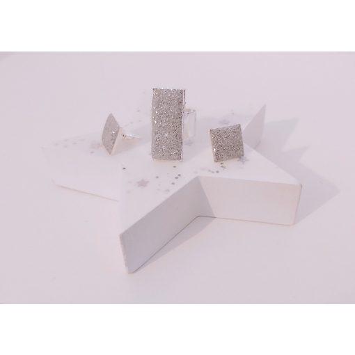 Gyűrű és fülbevaló szett csillogó betonnal